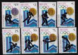 BELIZE  1980, SCOTT #503-10,  WINTER OLYMPIC LAKE PLACID   CTO WITH GUM - Belize (1973-...)