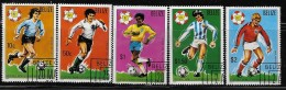 BELIZE  1982, SCOTT #601, 03-06 , 1982 WORLD CUP  SOCCER CHAMPIONSHIP,  # 602 MISSING CTO WITH GUM - Belize (1973-...)