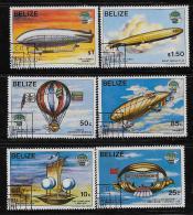 BELIZE  1983, SCOTT #672-7,  VARIOUS FLYING  MODE, CTO WITH GUM - Belize (1973-...)