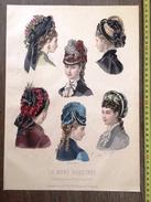 PLANCHE DE GRAVURE DE MODE ILLUSTREE 1875 CHAPEAUX DE DELOFFRE ANAIS TOUDOUZE - Collections