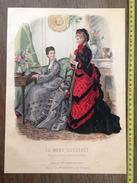 PLANCHE DE GRAVURE DE MODE ILLUSTREE 1875 TOILETTES FLADRY CHAPEAUX DELOFFRE ANAIS TOUDOUZE - Collections