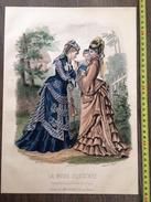 PLANCHE DE GRAVURE DE MODE ILLUSTREE 1875 TOILETTES FLADRY ANAIS TOUDOUZE FEMME ENFANT CERISES - Collections