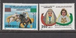 1988 Libya Arab African Union Horses Costumes Complete Set Of 2 MNH - Libya