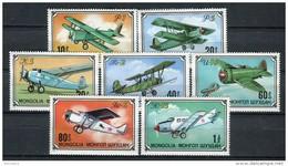 Av. Mongolia 1976. Yvert 871-77 ** MNH. - Avions