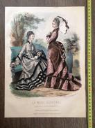 PLANCHE DE GRAVURE DE MODE ILLUSTREE 1875 TOILETTES FLADRY COIFFURES BOUTIN ANAIS TOUDOUZE OMBRELLE - Collections