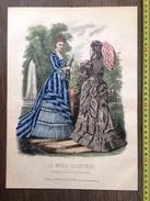 PLANCHE DE GRAVURE DE MODE ILLUSTREE 1875 TOILETTES BREANT CASTEL LAURE NOEL OMBRELLE - Collections