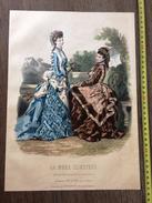 PLANCHE DE GRAVURE DE MODE ILLUSTREE 1875 TOILETTES FLADRY CHAPEAUX AUBERT ANAIS TOUDOUZE OMBRELLE - Collections