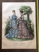 PLANCHE DE GRAVURE DE MODE ILLUSTREE 1875 TOILETTES FLADRY FEMME ROSE - Collections