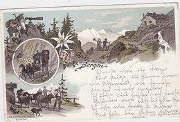 Gruss Aus Den Bergen Mit Alpaufzug - Litho Verl.Schlumpf - 1898       (P-51-10619) - Souvenir De...