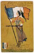 Patriotische Postkarte Frankreich / FRANCE, Mit Flagge, Glitzer-Druck, Künstler Karte Signiert St. John, 1906 - Europa