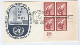 1957 UNITED NATIONS FDC  Block Of 4 AIR MAIL Stamps  UN Cover - New York – UN Headquarters