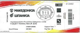 Ticket Football Mach Macedonia Vs Spain 11,06.2017 - Tickets D'entrée