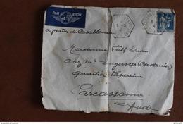 1941    CROISEUR  JEANNE  D  '  ARC   CACHET  HEXAGONAL  POINTILLE   PARTIE  DE  CASABLANCA  POUR  CARCASSON  3   PHOTOS - Seepost