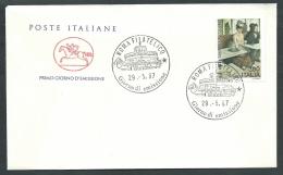 1987 ITALIA FDC CAVALLINO ALCOLISMO NO TIMBRO ARRIVO - CV1987 - 6. 1946-.. Republic