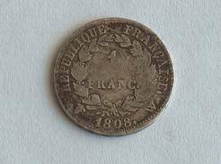 FRANCE 1 Franc 1808 W - Silver, Argent - H. 1 Franco