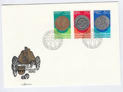 1977  LIECHTENSTEIN  FDC Stamps HISTORIC COINS Cover Emperor Constantine Royalty Coin - Monete
