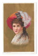 Victorian Trade Card Burdock Bitters Lady Feathered Hat Gold Background Advertising - Trade Cards