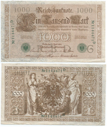 Alemania - Germany 1.000 Mark 1910 Sello Verde 7 Nºs Pick 45.b Ref 1317 - [ 2] 1871-1918 : German Empire