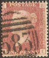 Great Britain 1858 1 D Red, Plate 184 Alph. BE Cancel 583 Nottingham - Gebraucht