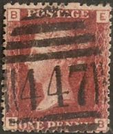 Great Britain 1858 1 D Red, Plate 205 Alph. EB Cancel 447 Leeds - Gebraucht