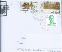 Sidecar. Mobilete 1954.Beiwagen. Moped 1954. Moto.Sidecar. Vélomoteur 1954.Circulated Letter Girona With Stamps Mobilite - Moto