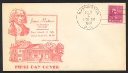 USA Sc# 808 FDC (Washington DC) 1938 7.1 James Madison - First Day Covers (FDCs)