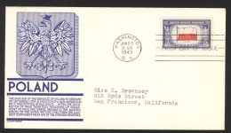 USA Sc# 909 (C. Stephen Anderson Cachet) FDC (Washington DC) 1943 6.22 Overrun Countries - Poland - Ersttagsbelege (FDC)