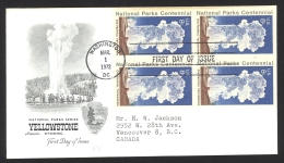 USA Sc# 1453 (Artmaster) FDC Block/4 (c) (Washington DC) 1972 3.1 Yellowstone National Park - First Day Covers (FDCs)