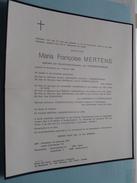 DB Maria Françoise MERTENS ( Wwe Vanderstighelen ) Antwerpen 7 Feb 1898 - 24 Dec 1977 ( Detail - Zie Foto ) ! - Avvisi Di Necrologio