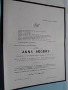 DB Anna SEGERS () Bornem 14 Feb 1879 - 24 Okt 1971 ( Detail - Zie Foto ) ! - Avvisi Di Necrologio