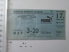 D150982.10  Austria - Gerhard Hannapi Stadion - Österreich-Ungarn  WM Qualifikation  1985 Ticket -Stadium Stade PUMA - Tickets - Vouchers