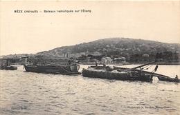34-MEZE- BATEAUX REMORQUES SUR L'ETANG - Mèze