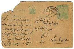 D267- British India King George V Postal Used Post Card. Post To Pakistan. - India