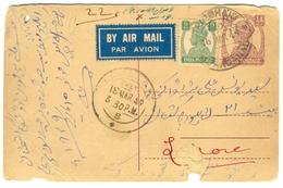 D268- British India King George VI Postal Used Post Card. Post To Pakistan. - India