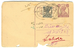 D273- British India King George VI Postal Used Post Card. Post To Pakistan. - India