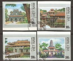 Vietnam 1990 Mi# 2126-2129 U Used - Imperf. - Architectural Sites, Hue - Vietnam