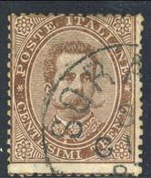 Regno U1, 1879, Sassone N. 41, C. 30, Bruno, Usato, Annullo Sorana 30 Giugno 8?, Firmato A. Diena. Cat. € 4500 - Usati