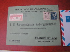 Portugal  Brief Aus Porto   1929 Nach Frankfurt  See Back Side Schöne Aufkleber . - 1910-... République