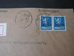 Norge  Brief Oslo Nach  Frankfurt 1928 Mit 2 X Nr. 135 Übedruck Als Reine MeF - Norwegen