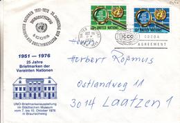 Nations Unies - Lettre De 1976 - Oblit New York - Exposition  Philatélique Avec Cachet De Braunsweig En Allemagne - Lettres & Documents