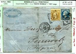 Lettre 10 Nov 1866 Bordeaux Pour Peruwelz ( Belgique) Gc 532  Pp Rouge N°39 - 1863-1870 Napoléon III Lauré