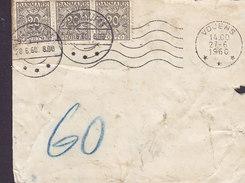 Denmark Unfranked VOJENS 1960 Cover Brief 3-Stripe 20 Øre PORTO Marken Postage Due W. Brotype IId GLAMSBJERG Cancel !! - Port Dû (Taxe)