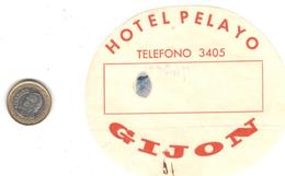 ETIQUETA DE HOTEL  -HOTEL PELAYO  -GIJON - Hotel Labels