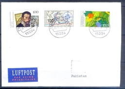 D332- Postal Used Cover Post From Germany To Pakistan. Famous People. Flower. - Germany