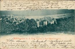 AK Mühlacker Mühlhausen An Der Enz, Schloss U. Dorf (Nord-Ansicht), O 1900, Briefmarke Entfernt, Fleckig (18576) - Mühlacker