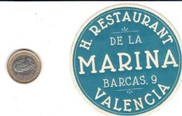 ETIQUETA DE HOTEL  -HOTEL RESTAURANTE DE LA MARINA   -VALENCIA - Hotel Labels