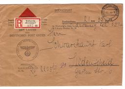 Deutsches Reich Dienstpost Nachnahme Einschreiben Kattowitz 17/8/1944 21RM 35 Rpf Nach Lüdenscheid 489 - Germany