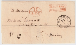 "1838, BADE PAR STRASBOURG "" , #8339 - Storia Postale"