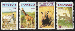 Tanzania 1986 ENDANGERED SPECIES FAUNA SET. ORYX, GIRAFFE, CHEETAH, RHINOCEROS MNH - Tanzania (1964-...)