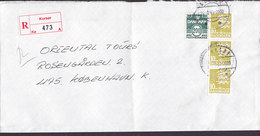 Denmark Registered Einschreiben Recommandé Label KORSØR 1995 Cover Brief 3-Stripe Lion Arms Löwe Wappen - Dänemark